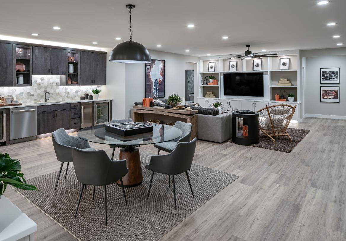 Versatile finished basement ideal for entertaining