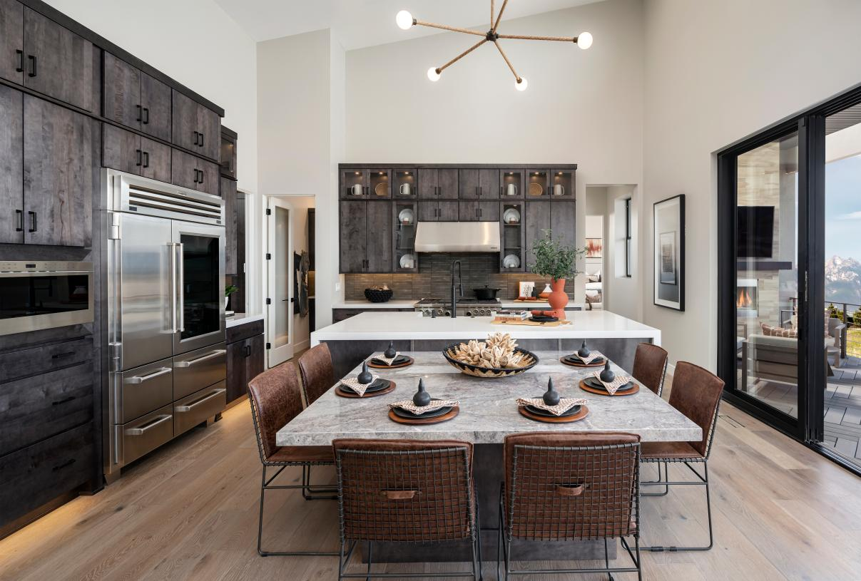 Beautiful kitchen with large center island and casual dining area