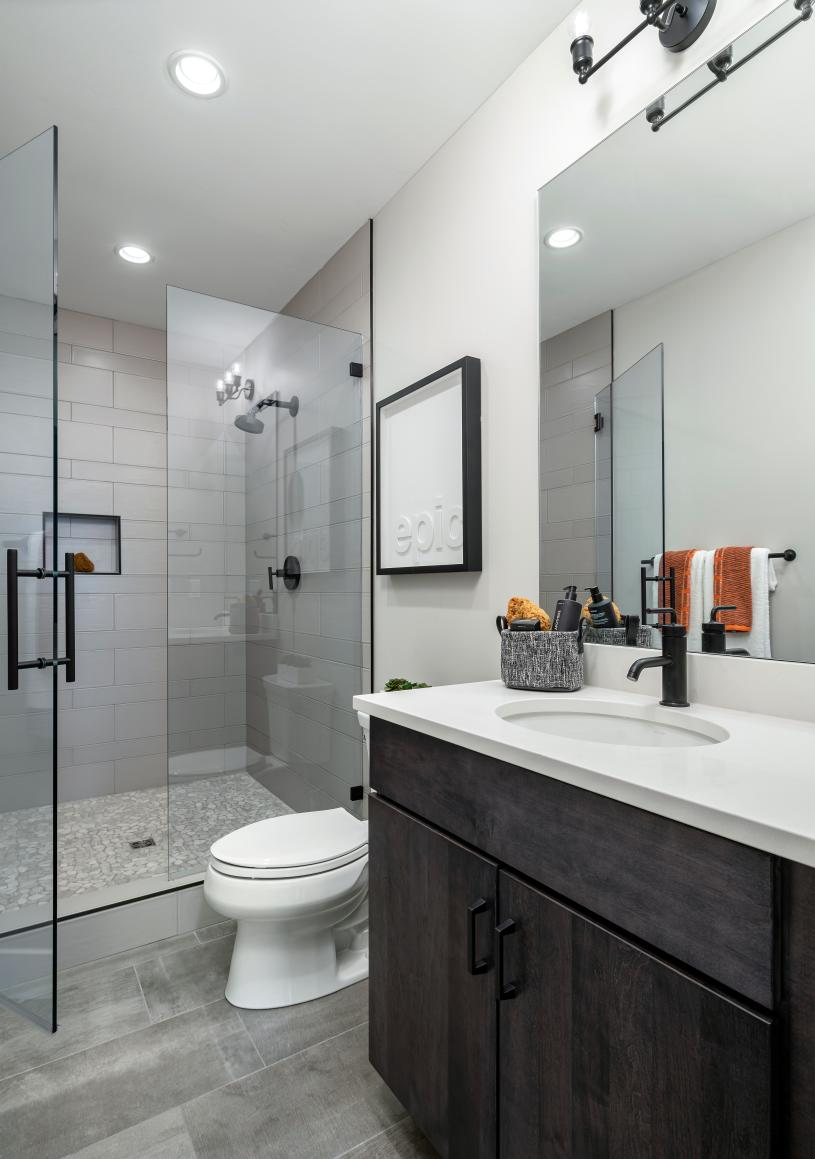 Secondary bathroom with large walk-in shower
