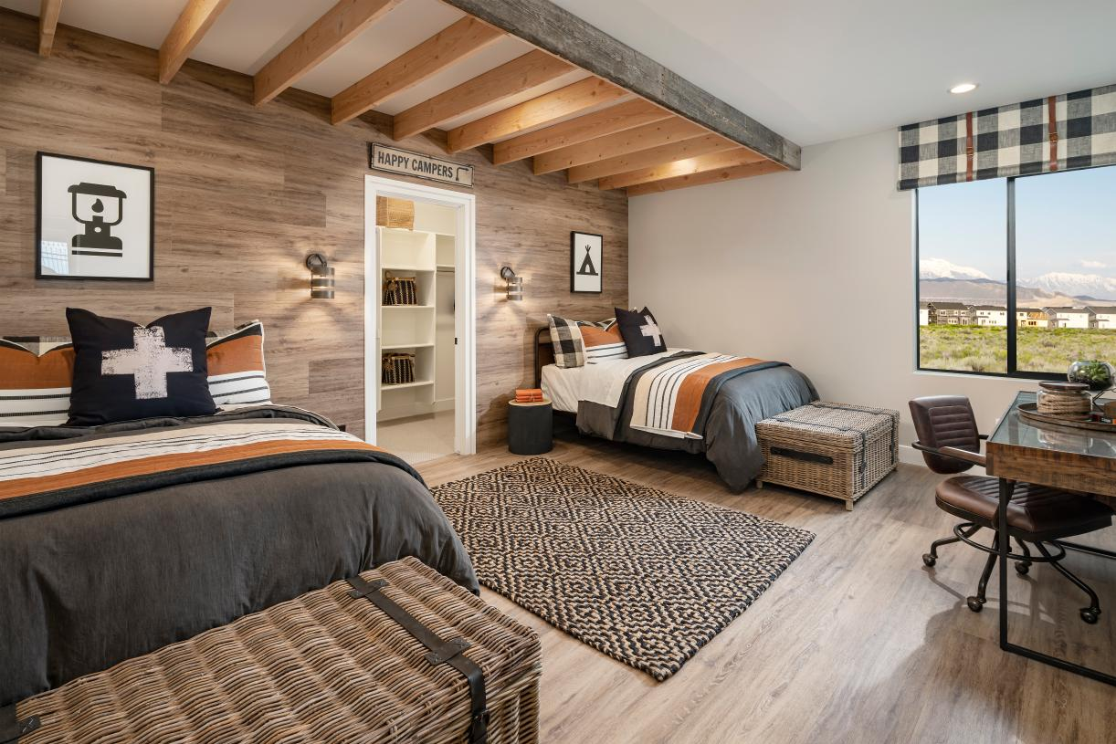 Huge secondary bedroom with large walk-in closet and desk space