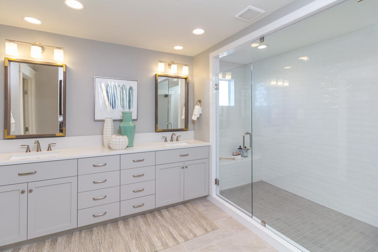 Primary bath with elegant tile shower