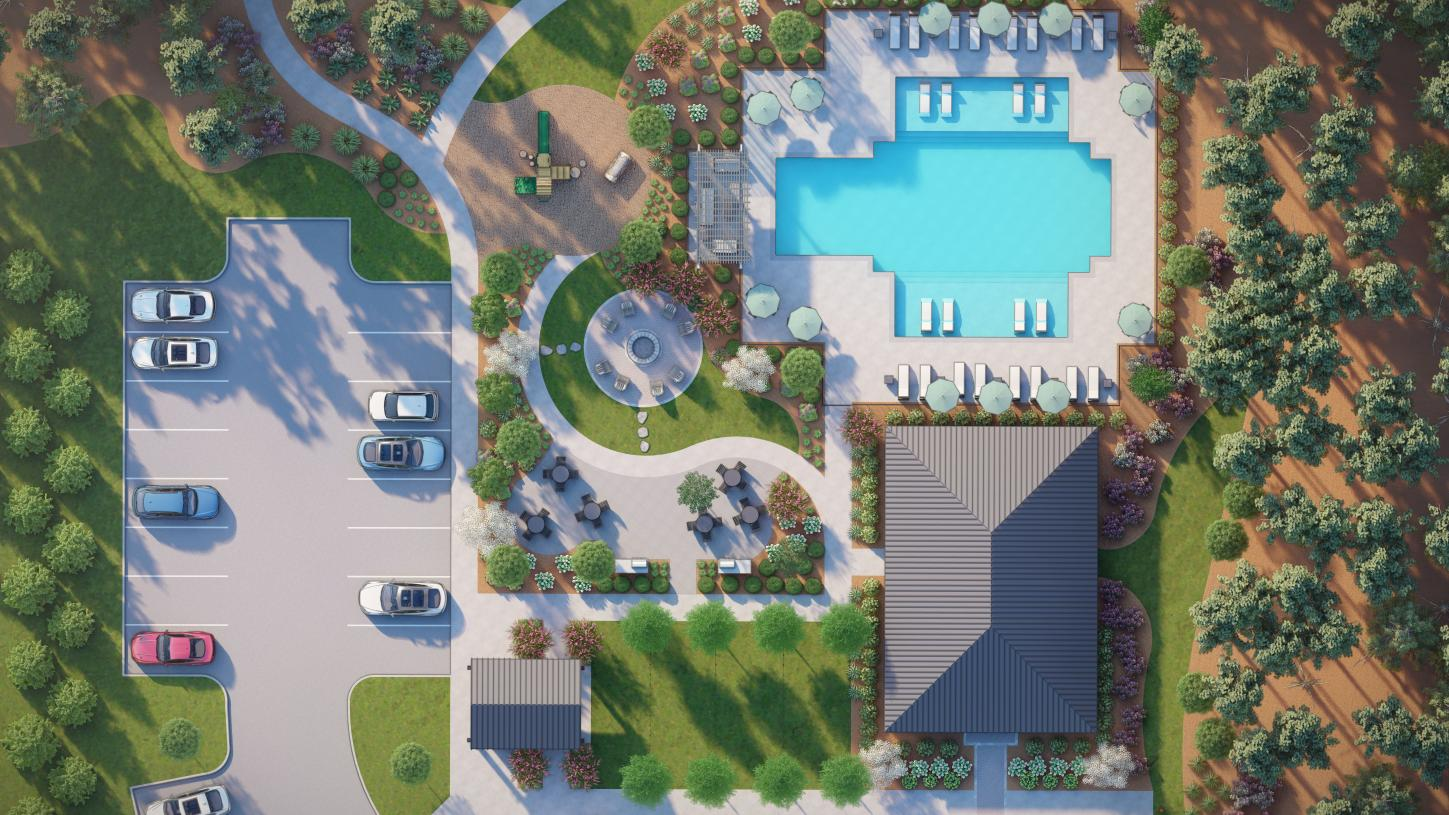 Future community pool, playground, outdoor fire place, and more