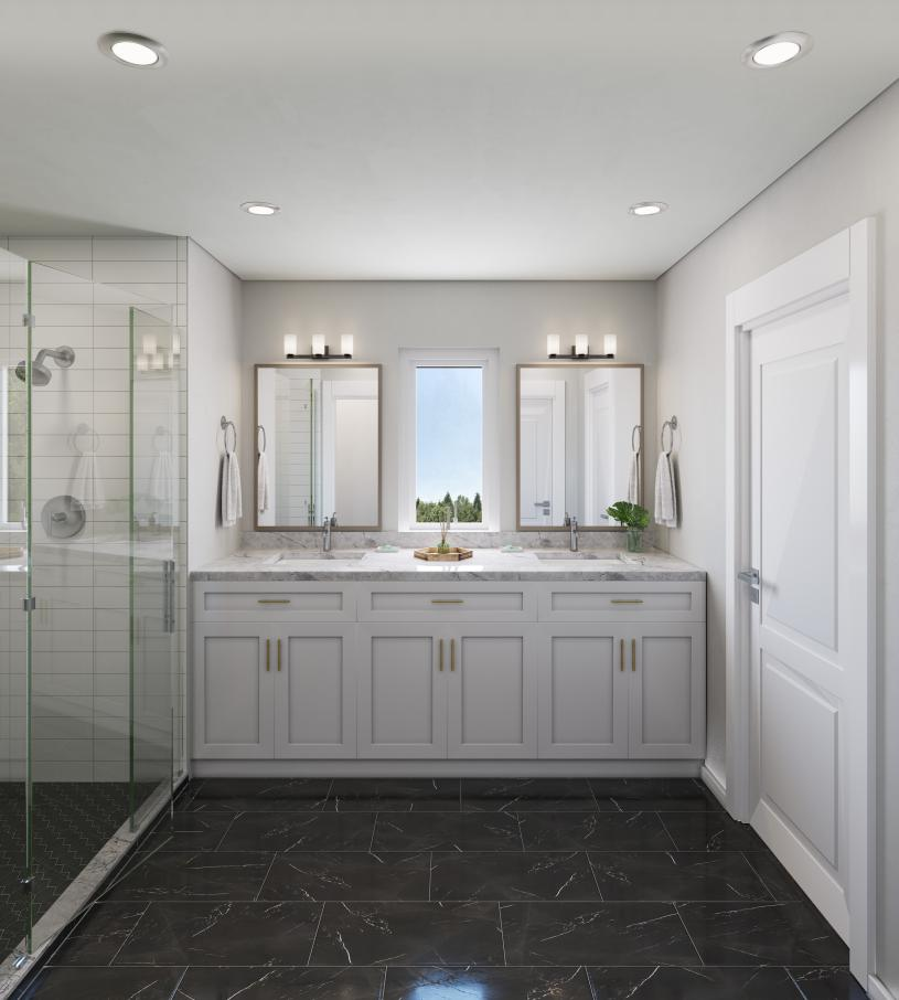 The Norwood primary bath with dual vanities