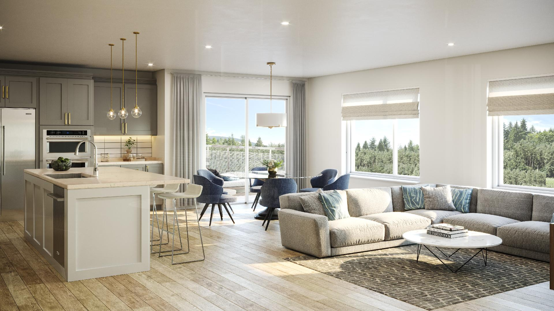 Plenty of windows flood the homes in bright light as shown in the Highlands great room
