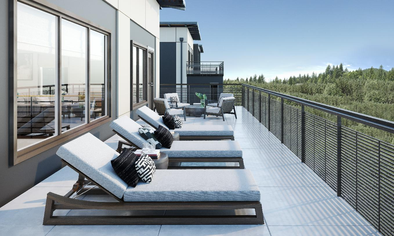 Spacious outdoor living areas as shown on the Interlake home design