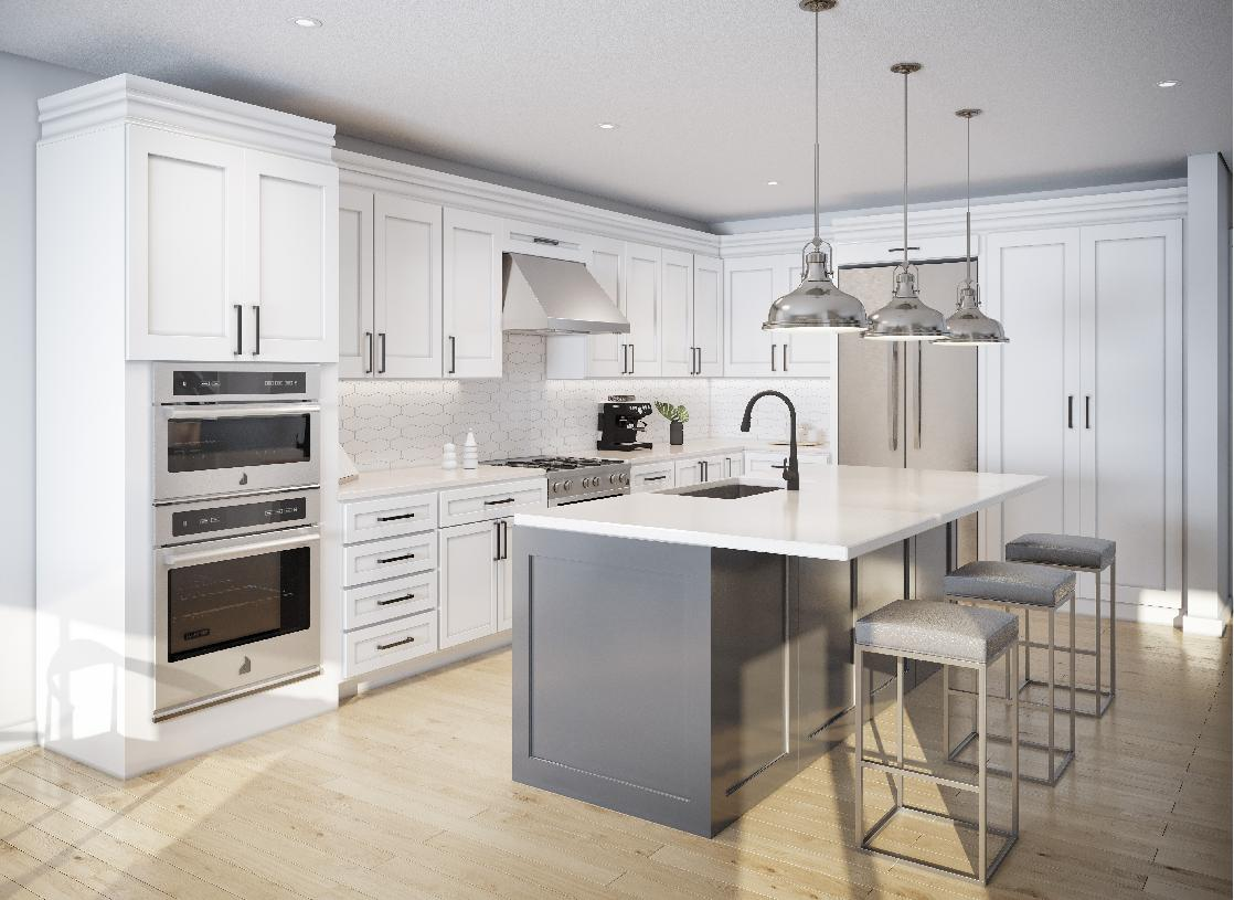 The Wilburton kitchen showcases finish details that can be selected at the Design Studio