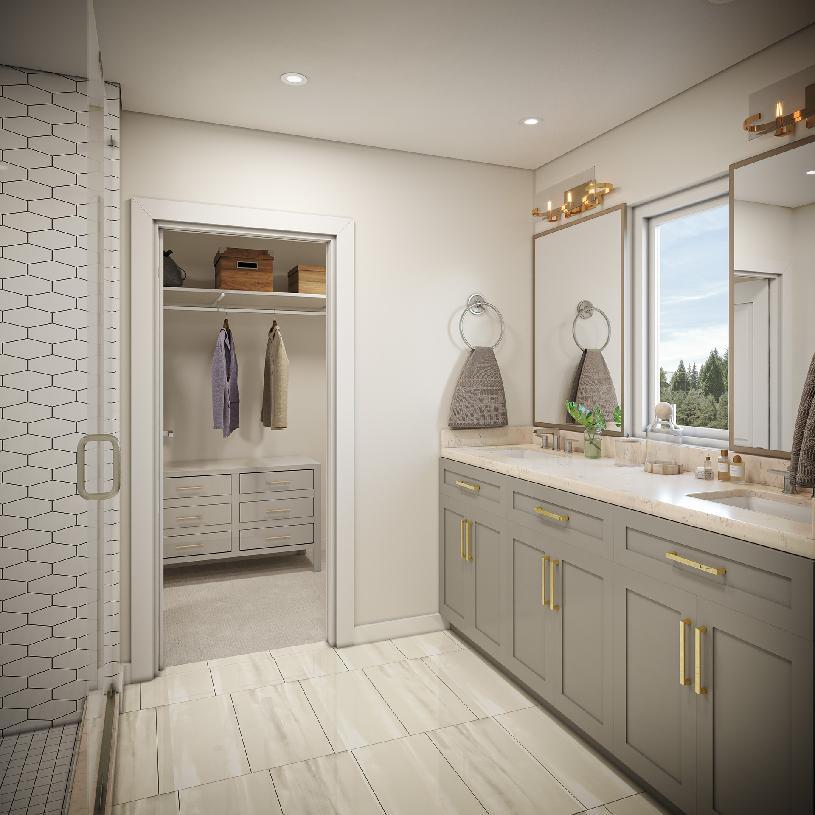 Primary bath with adjacent walk-in closet