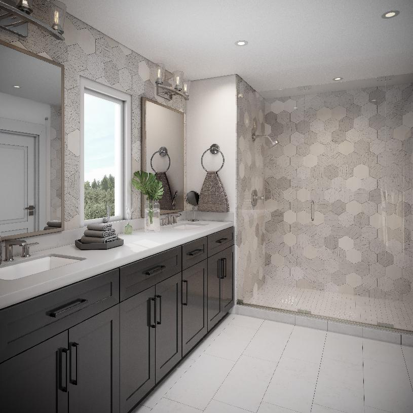 Primary bath offers a large walk-in shower and dual-sink vanity