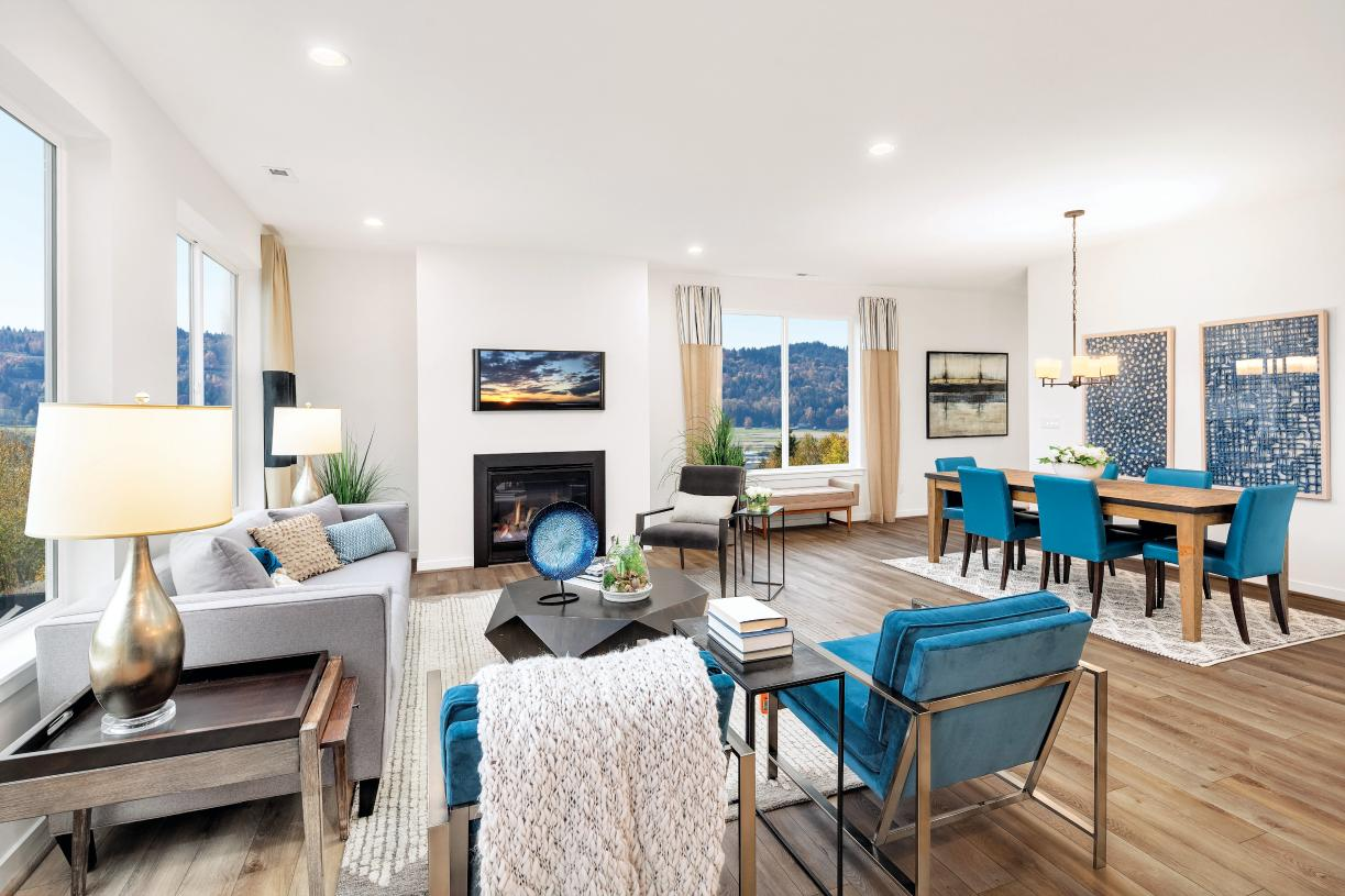 The open concept great room of the Abercrombie plan is ideal for entertaining