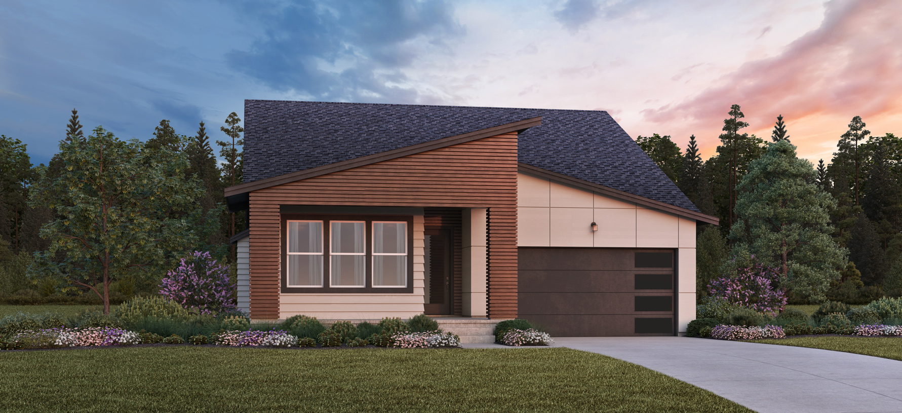 The community will offer single-story home designs including the modern Orchid shown