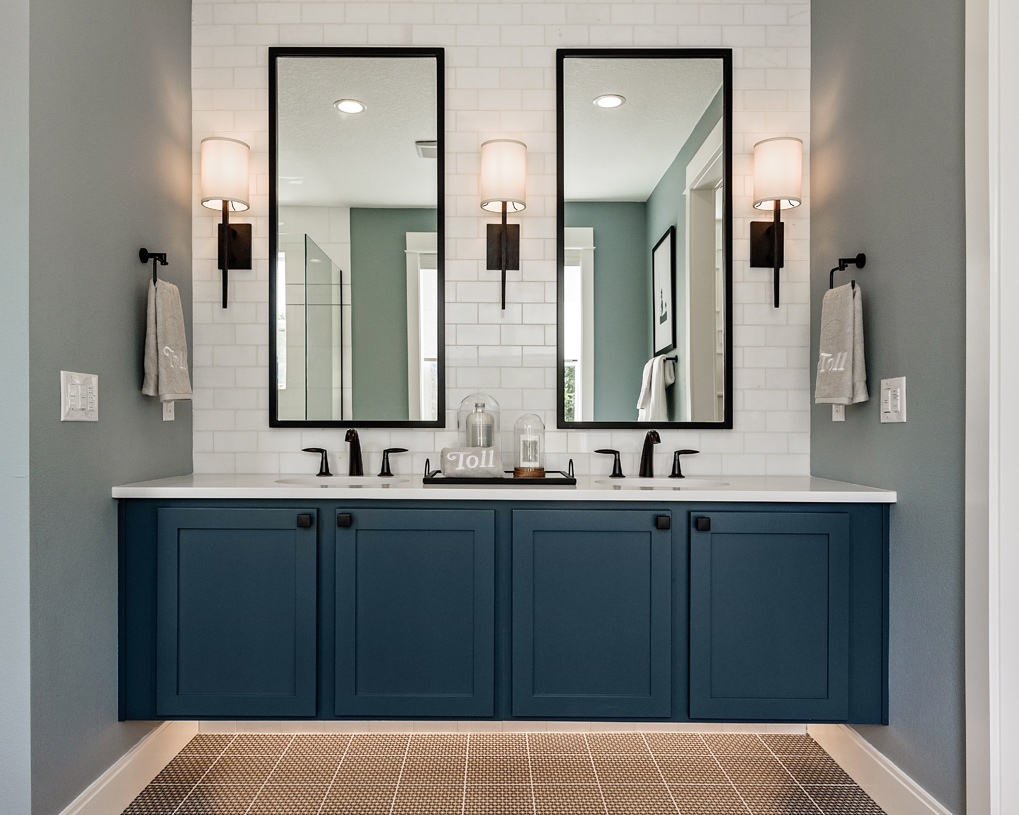 Primary bath features a dual sink vanity