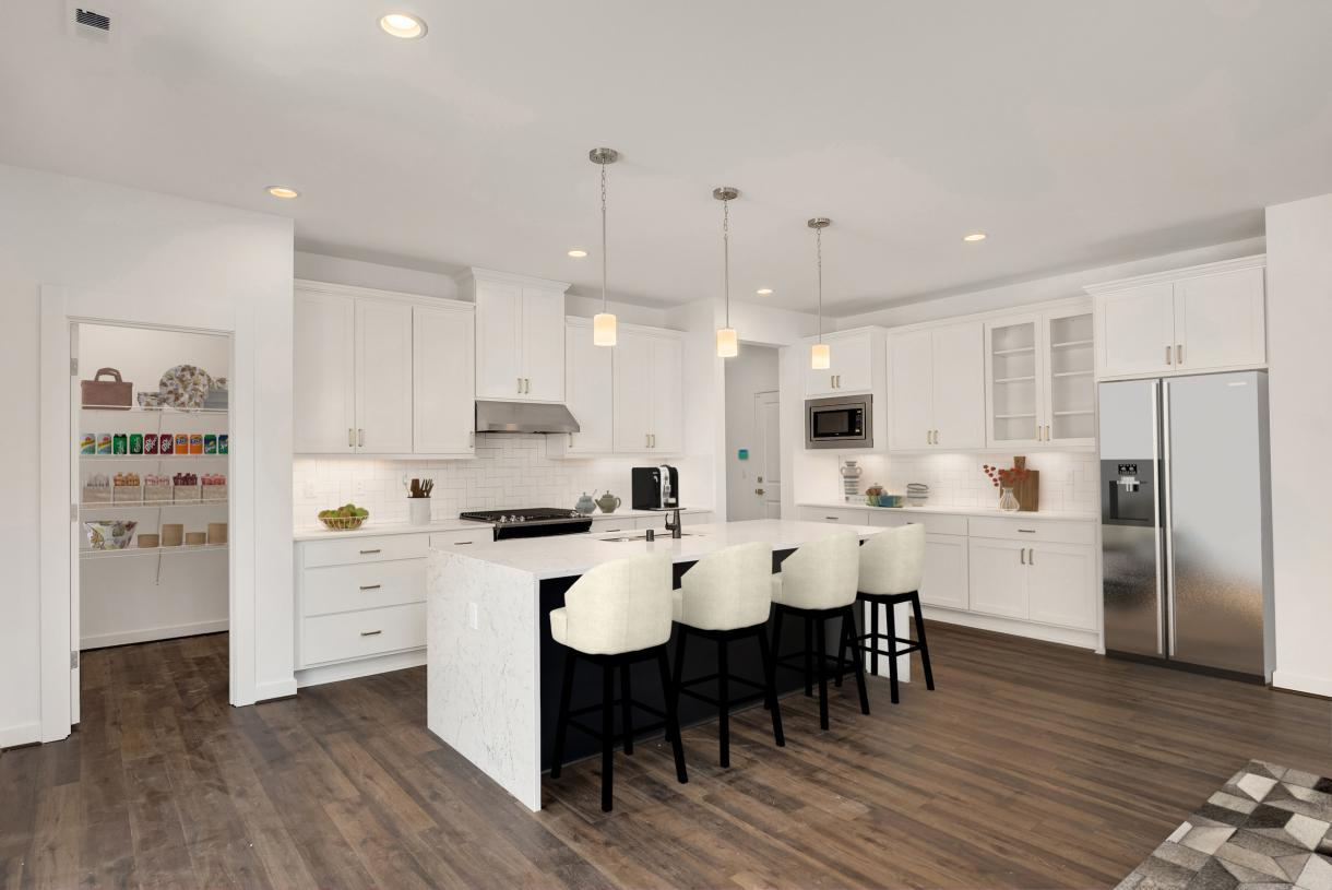 Representative photo - Well-designed kitchen offers plenty of cabinet storage plus a walk-in pantry behind