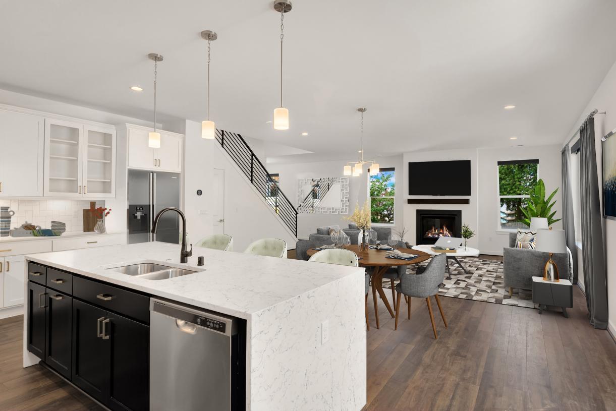 Representative photo - Large kitchen island overlooks the great room