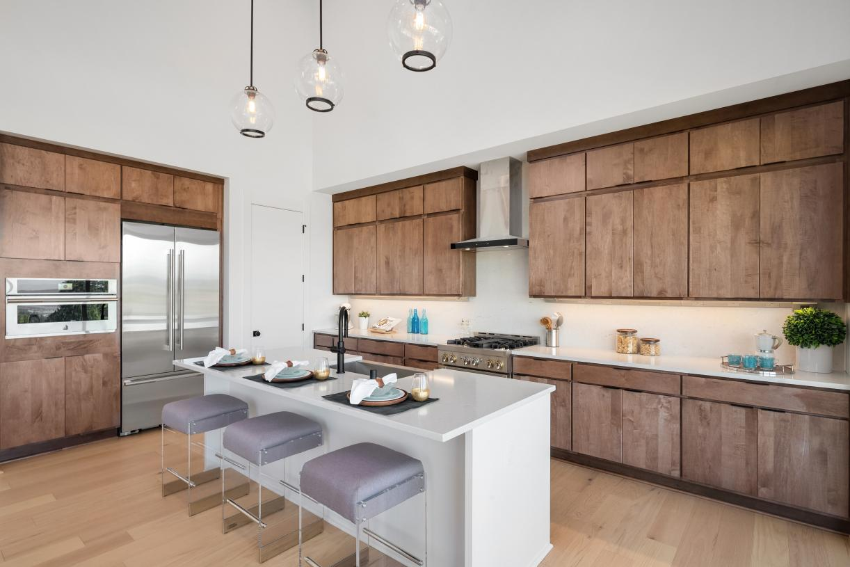 Kitchen with modern cabinetry offers plenty of storage space