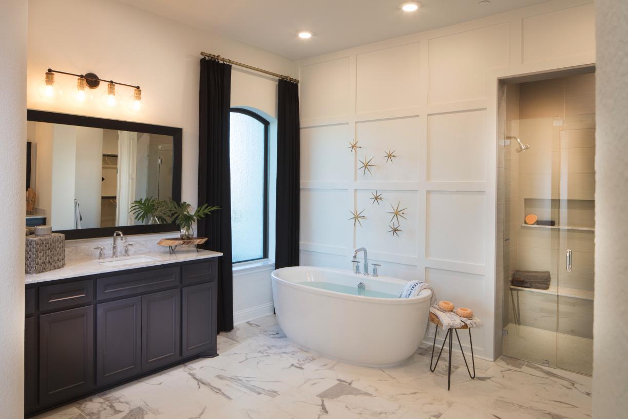 Vallagio primary bath provides a tranquil retreat