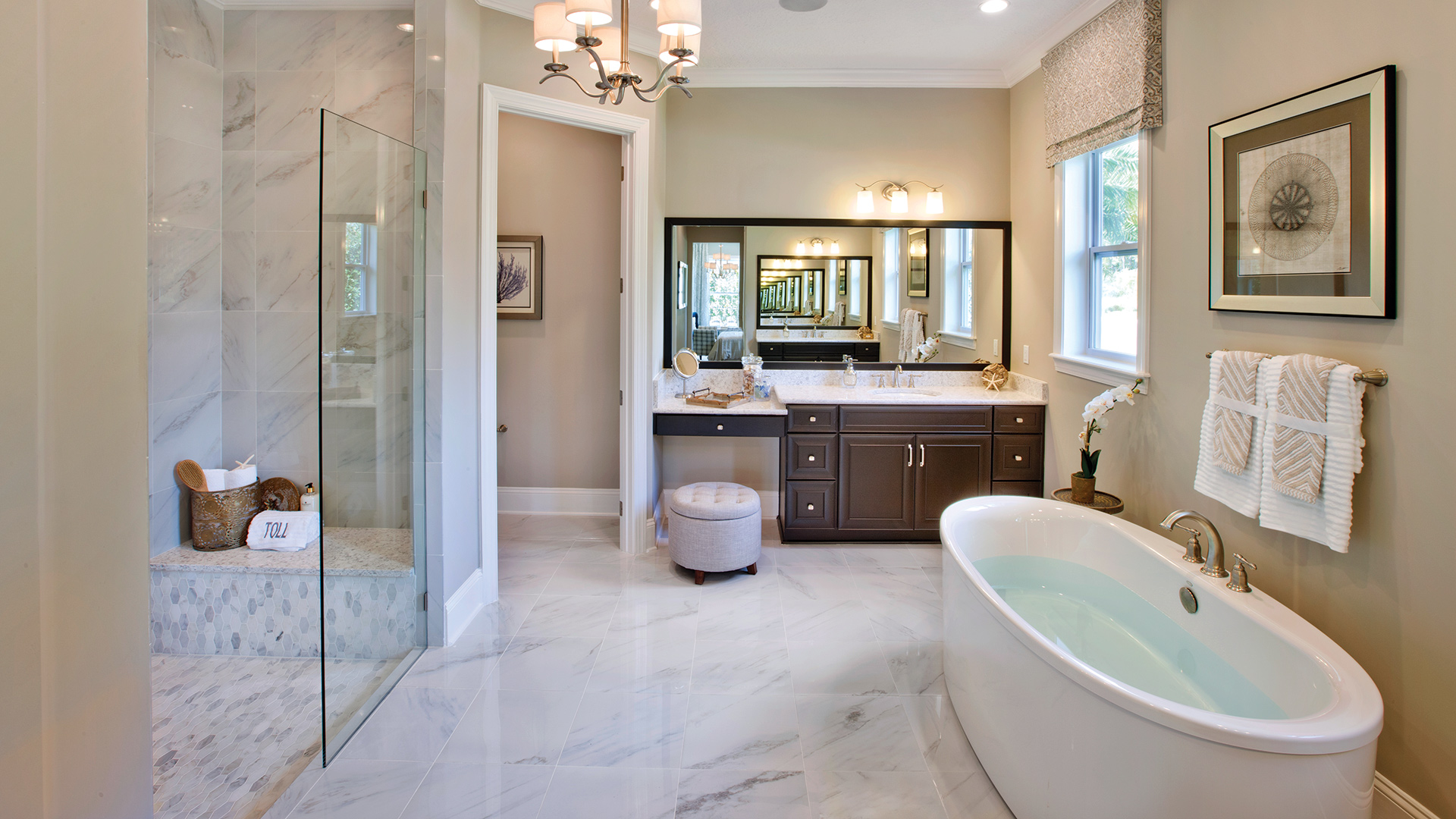 Luxurious bathrooms with large showers