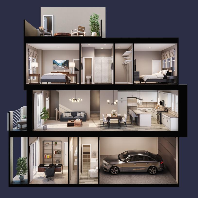 Terraces Plan 1, virtually designed for demonstration