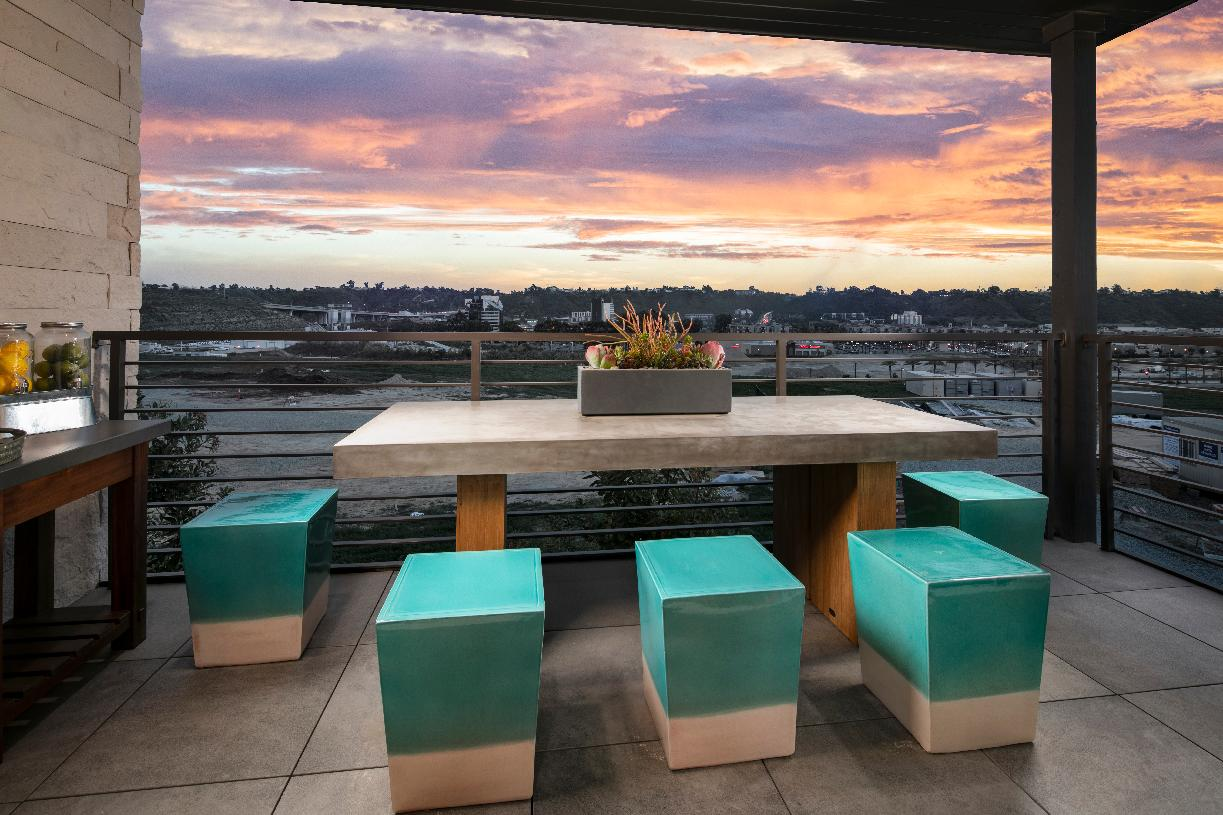 Private rooftop decks available
