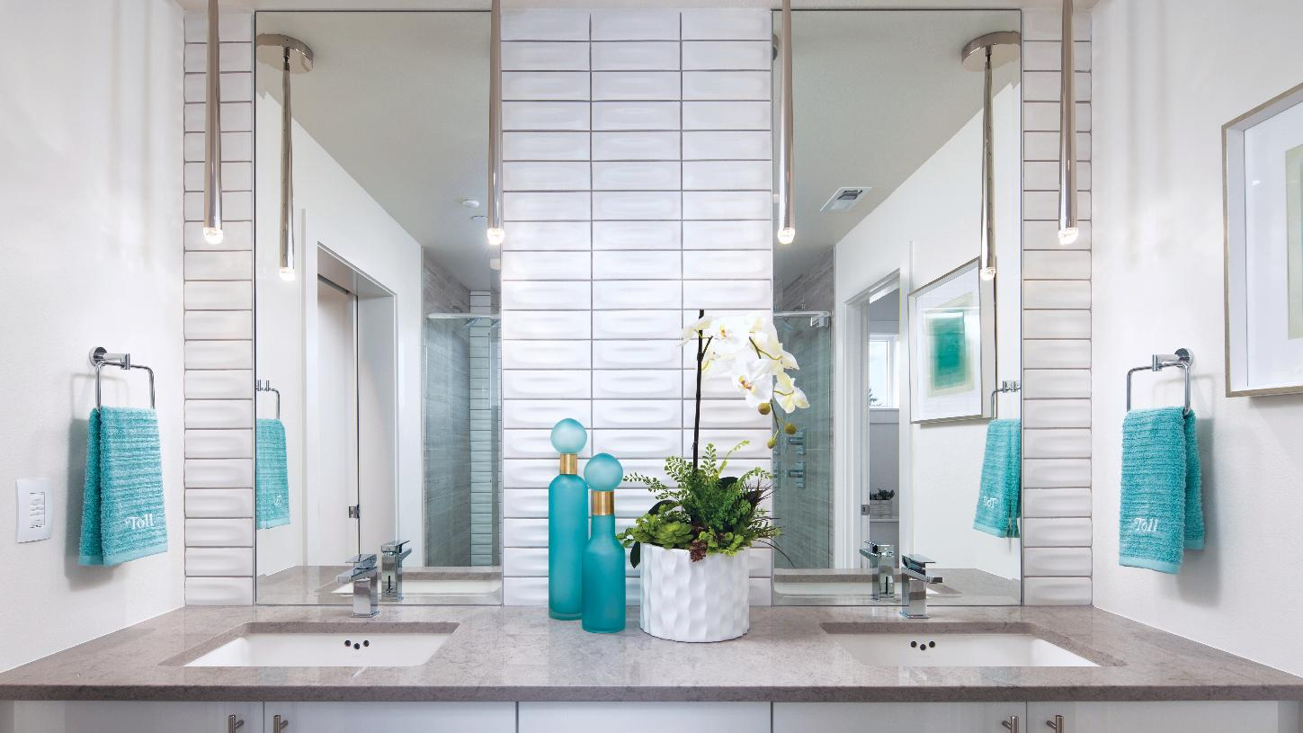 Luxe 5-piece master bath with spacious vanity, walk-in shower, and separate water closet
