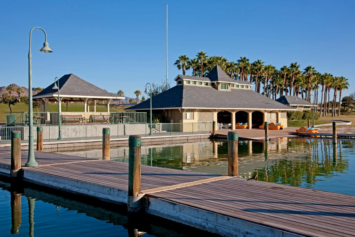 Enjoy outdoor recreation with 72+ acres of lakes and the Estrella Yacht Club