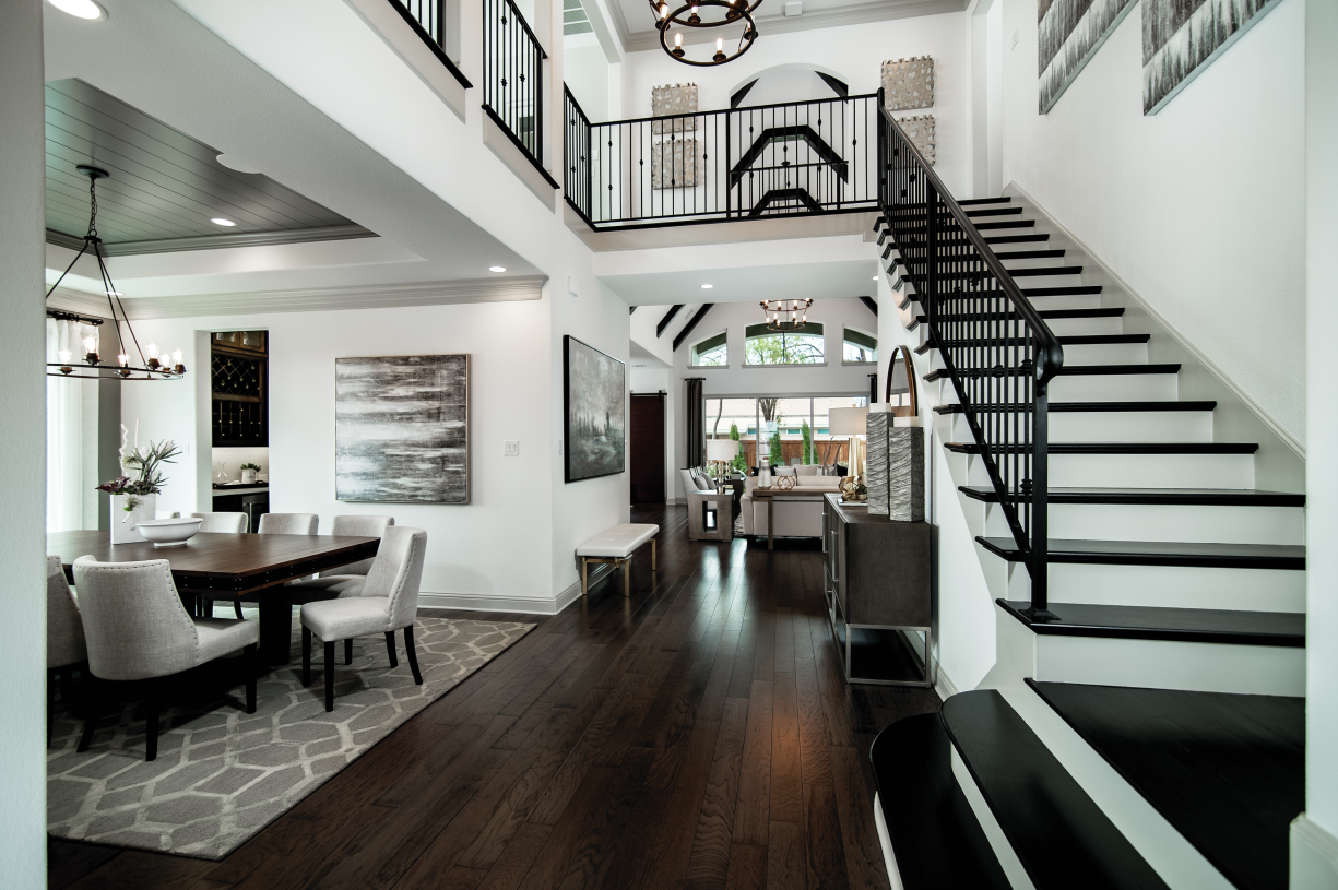 Two-story foyer with sophisticated stairs