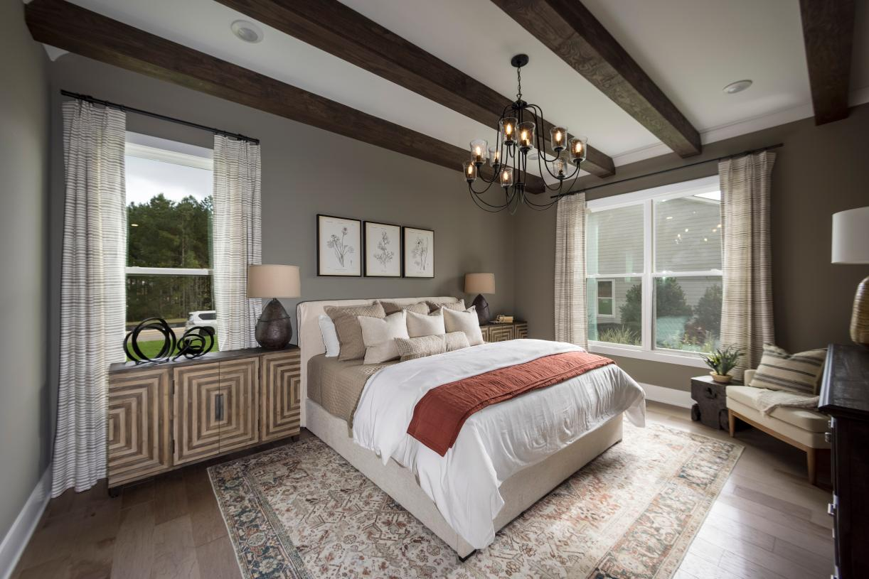 Cozy primary bedroom suite with lots of charm and designer finishes