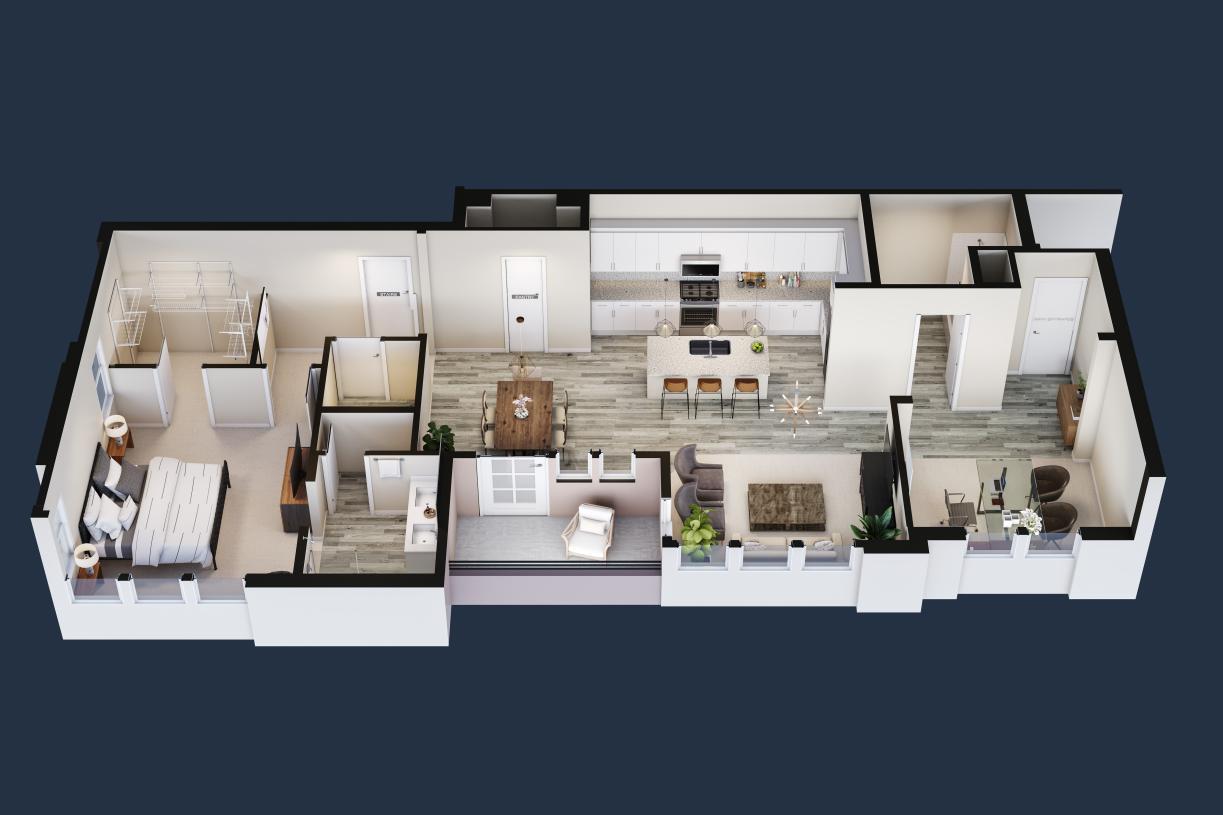 Lofts Plan 1, virtually designed for demonstration