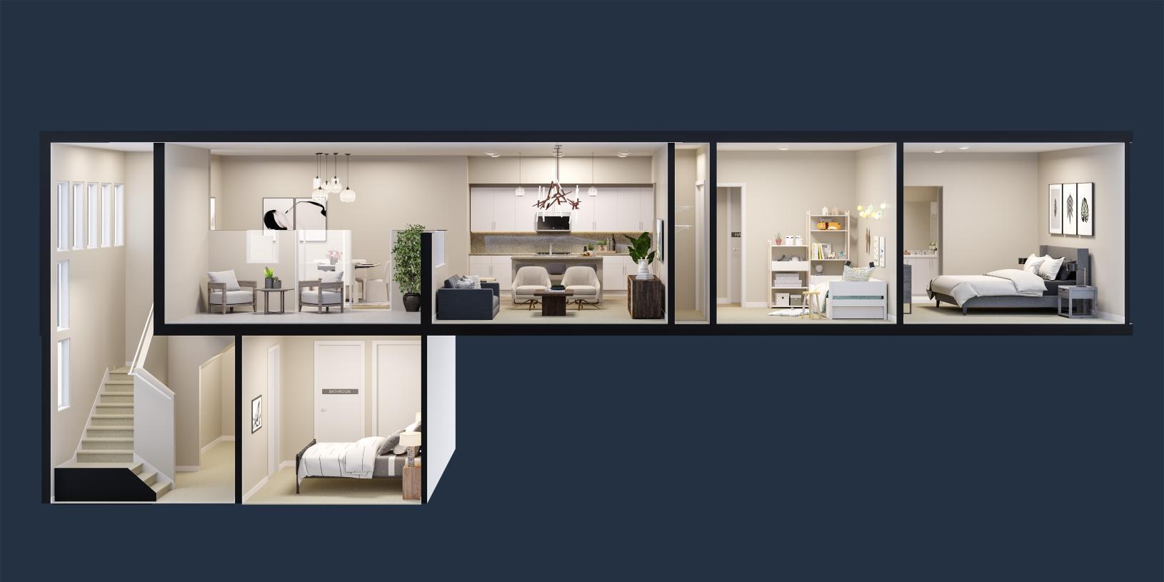 Lofts Plan 2, virtually designed for demonstration