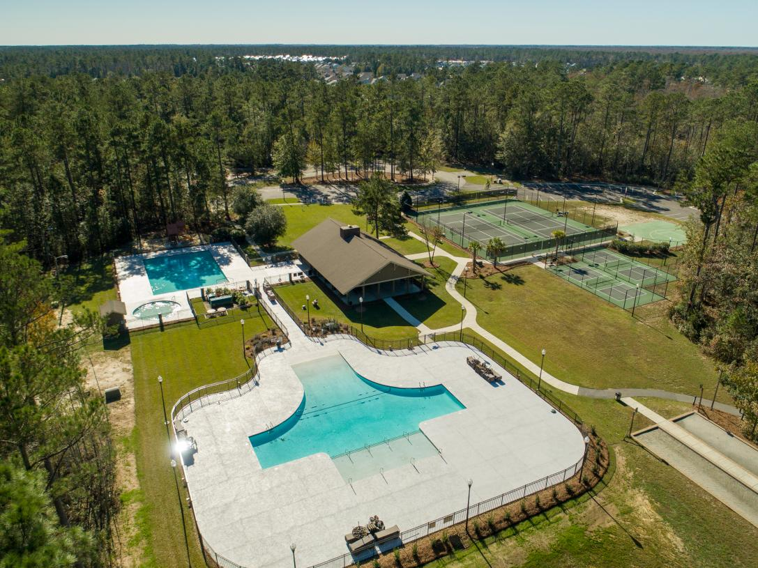 Community amenities surrounded by woods
