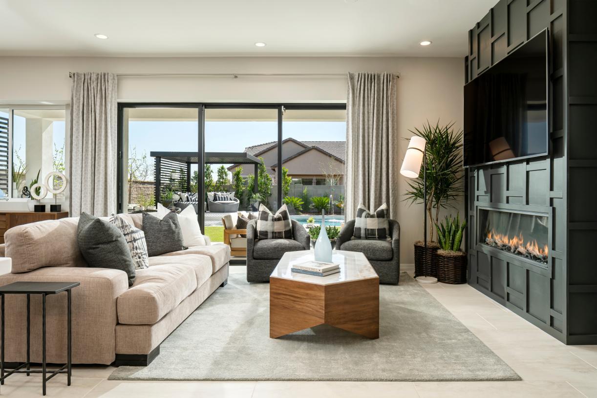 Spacious great rooms with multi-slide doors