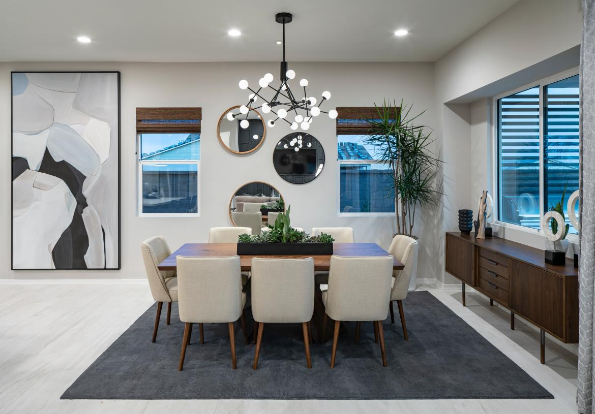 Casual dining space overlooks the large covered patio and beyond