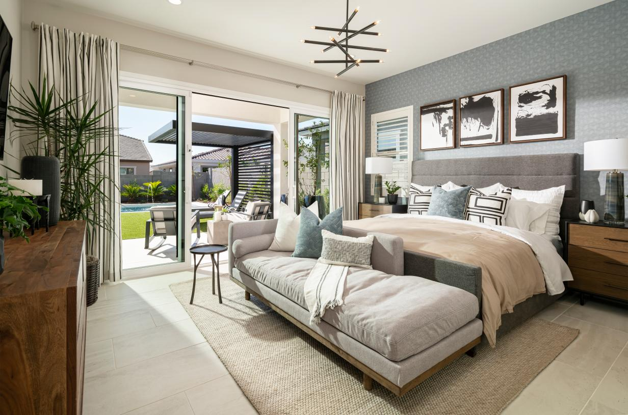 Beautiful primary suite with direct access to outdoor living space