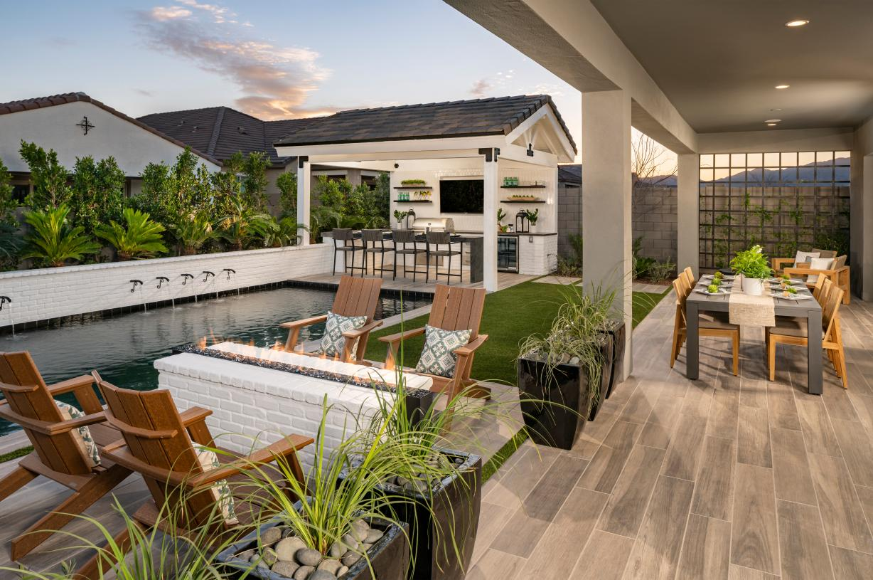 Large covered patio for provides ideal outdoor living space