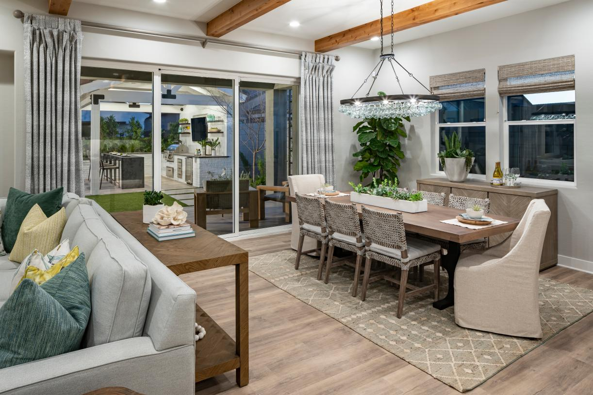 Casual dining space opens to large covered patio
