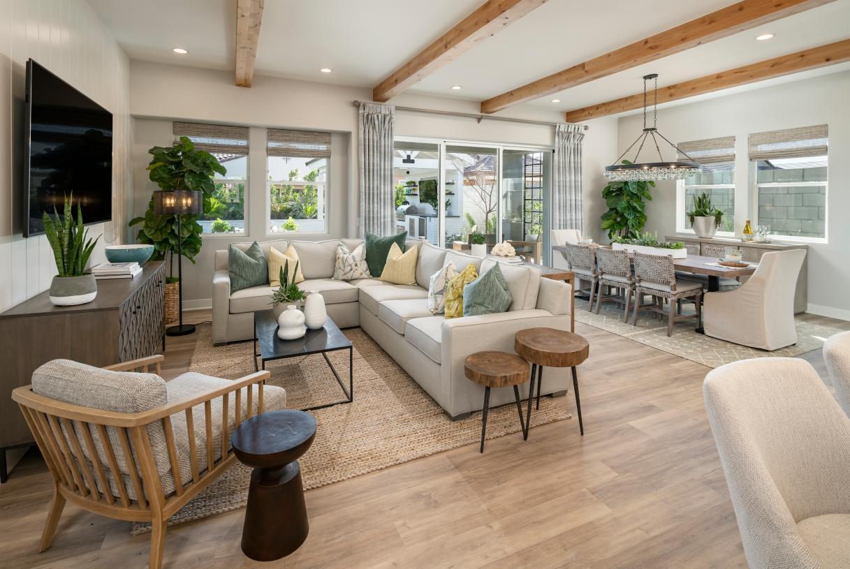 Open kitchen, great room, and casual dining space perfect for entertaining