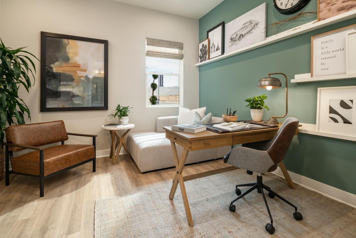 Versatile first-floor bedroom can be used as private office space