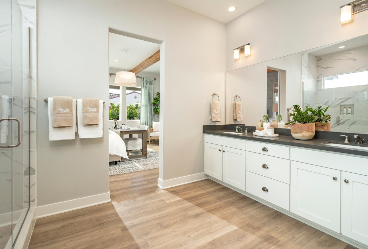 Primary bathroom features dual-sink vanity and large walk-in shower