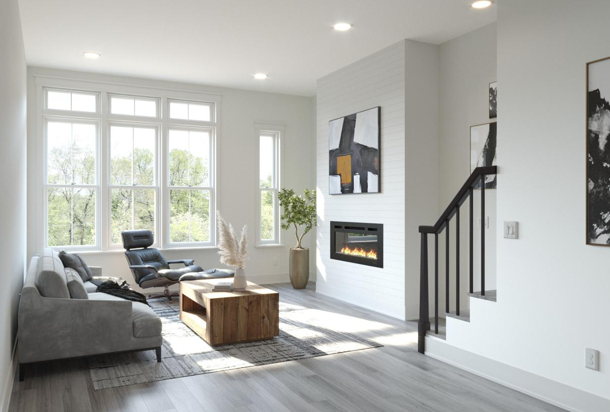 Large windows flood each floor with natural light and offer unobstructed views of EAV below