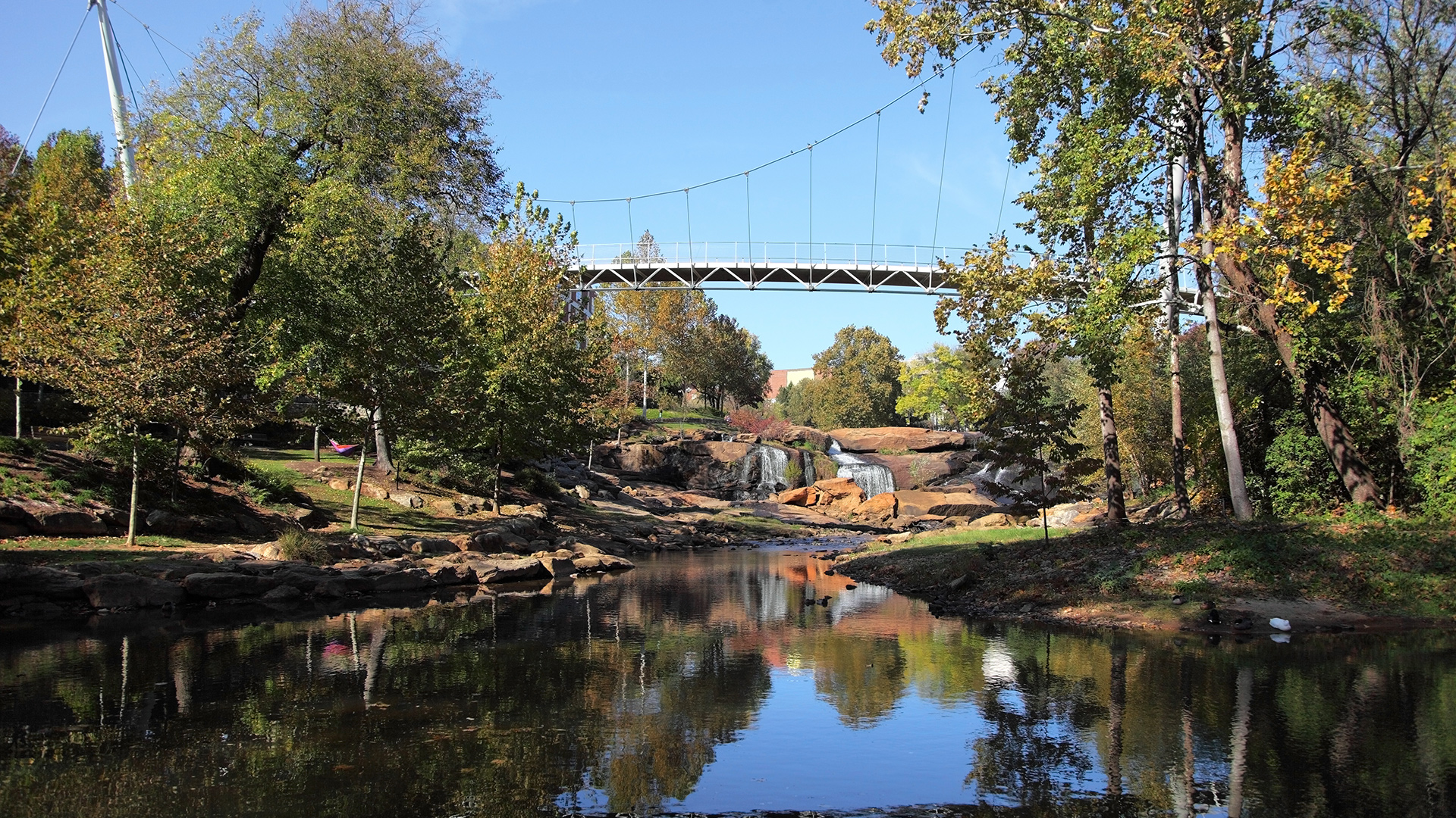 Explore Falls Park on the Reedy within walking distance from Canvas Townes
