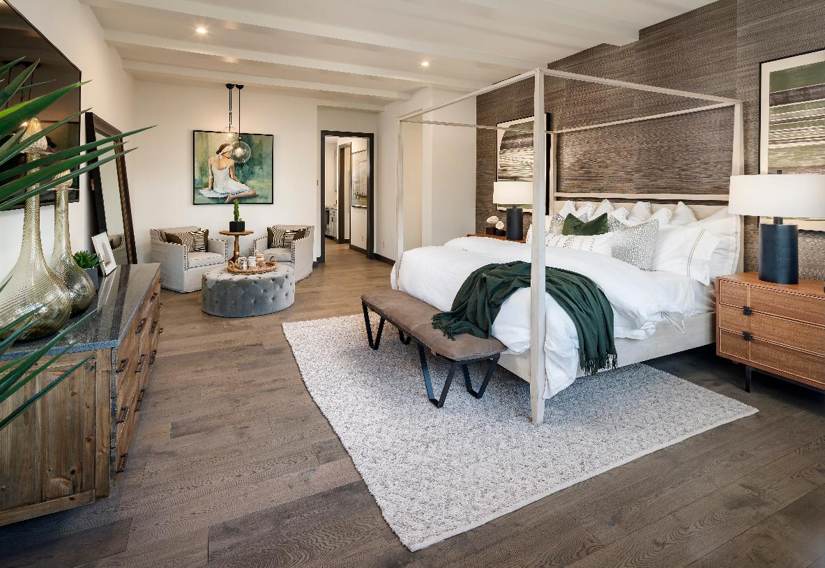 Serene and comfortable primary bedroom