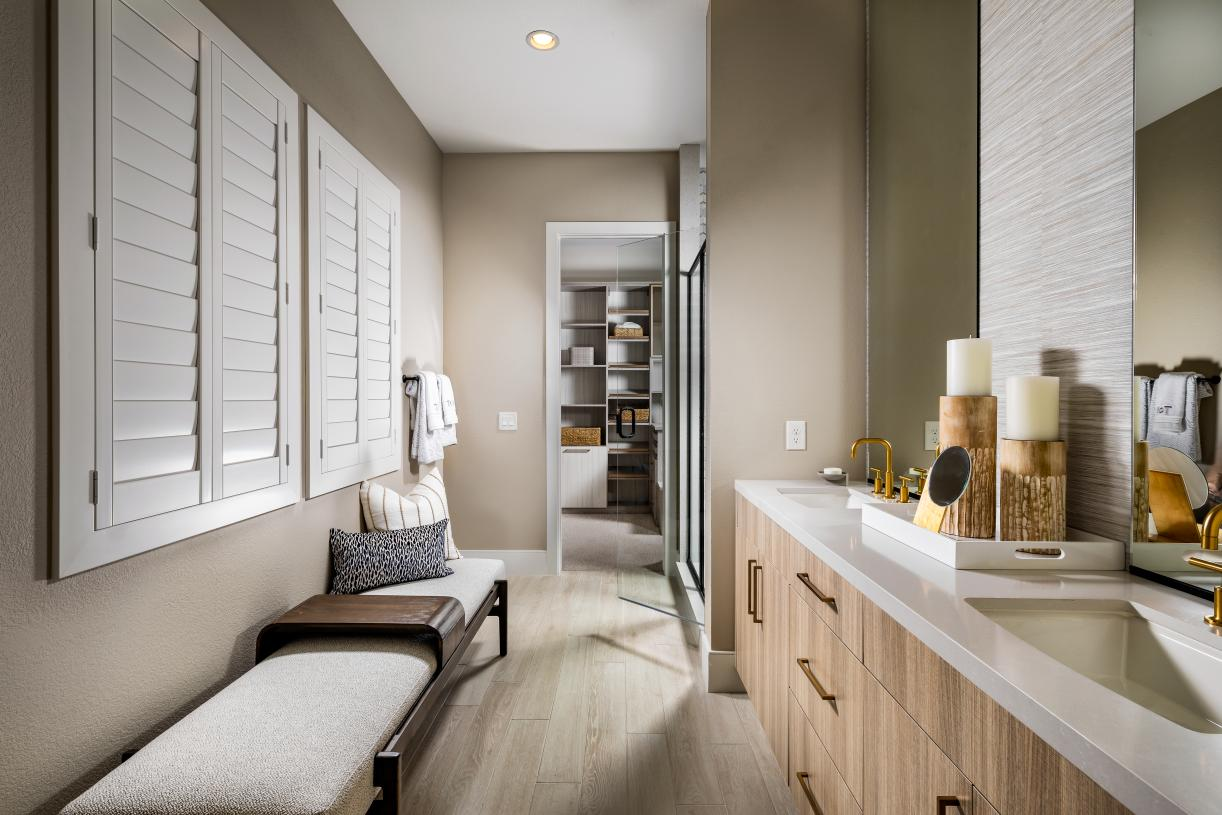 Luxurious primary bath with walk-in closet