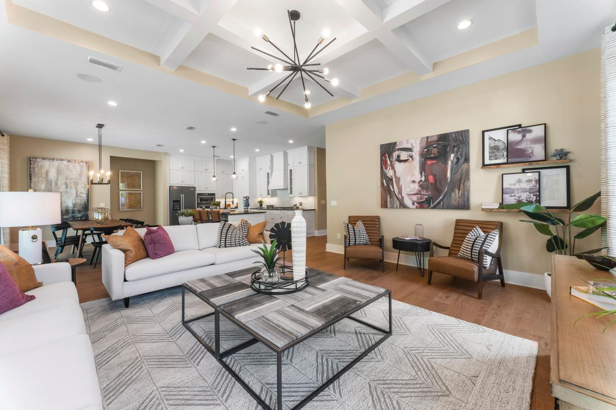 Open-living great room to dining and kitchen