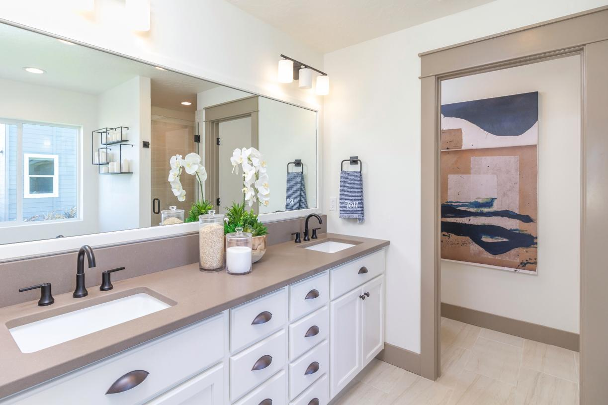 Spacious primary bath with dual-sink vanity and distinctive finishes