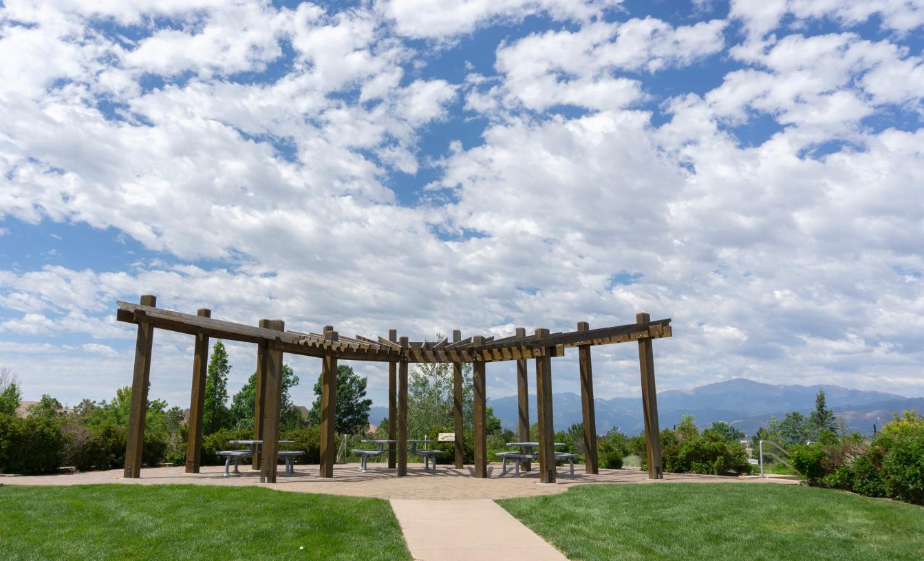 Enjoy the community demonstration gardens with native landscapes and backdrop of mountain views
