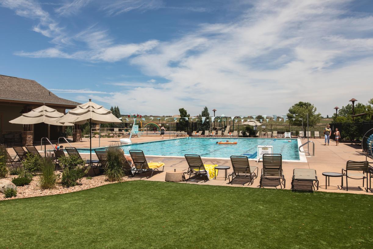 Spend time soaking in the sun or swimming in the Junior Olympic-sized community pool