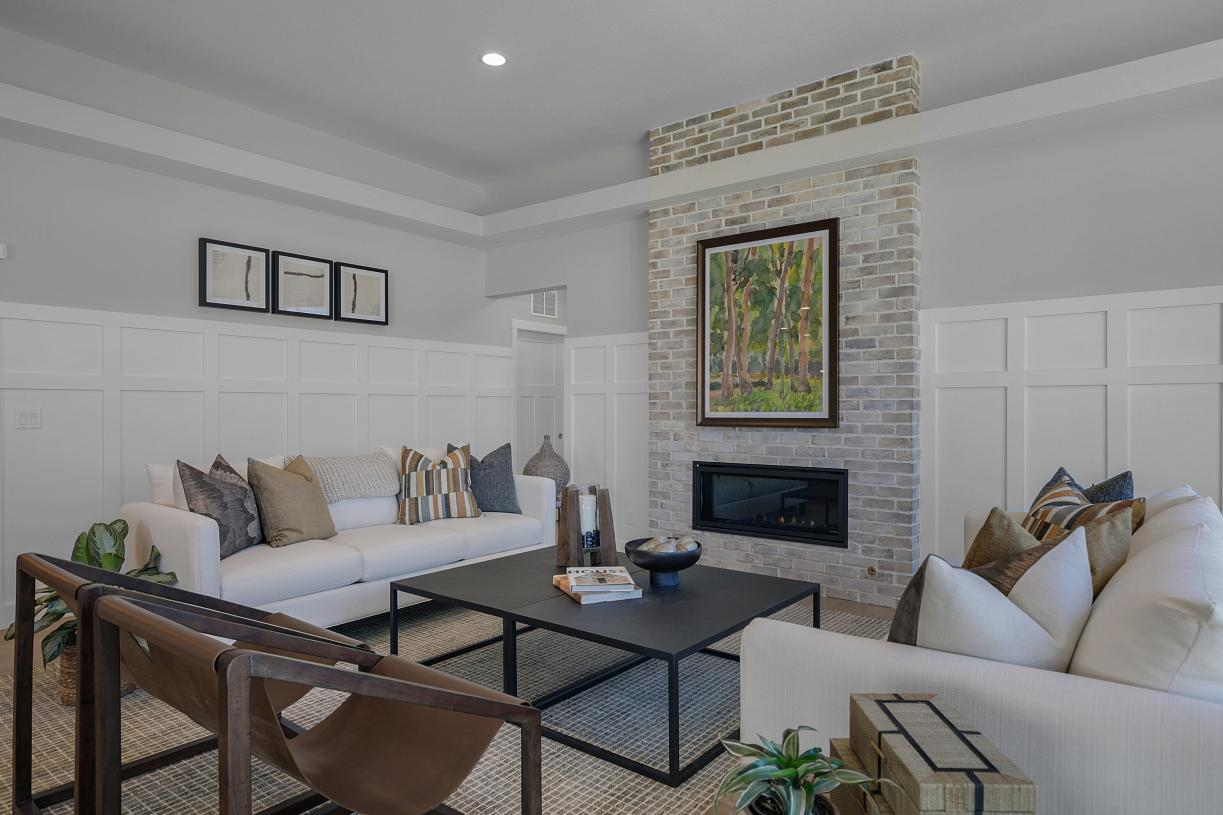 Great room with a gas fireplace and room for large furniture