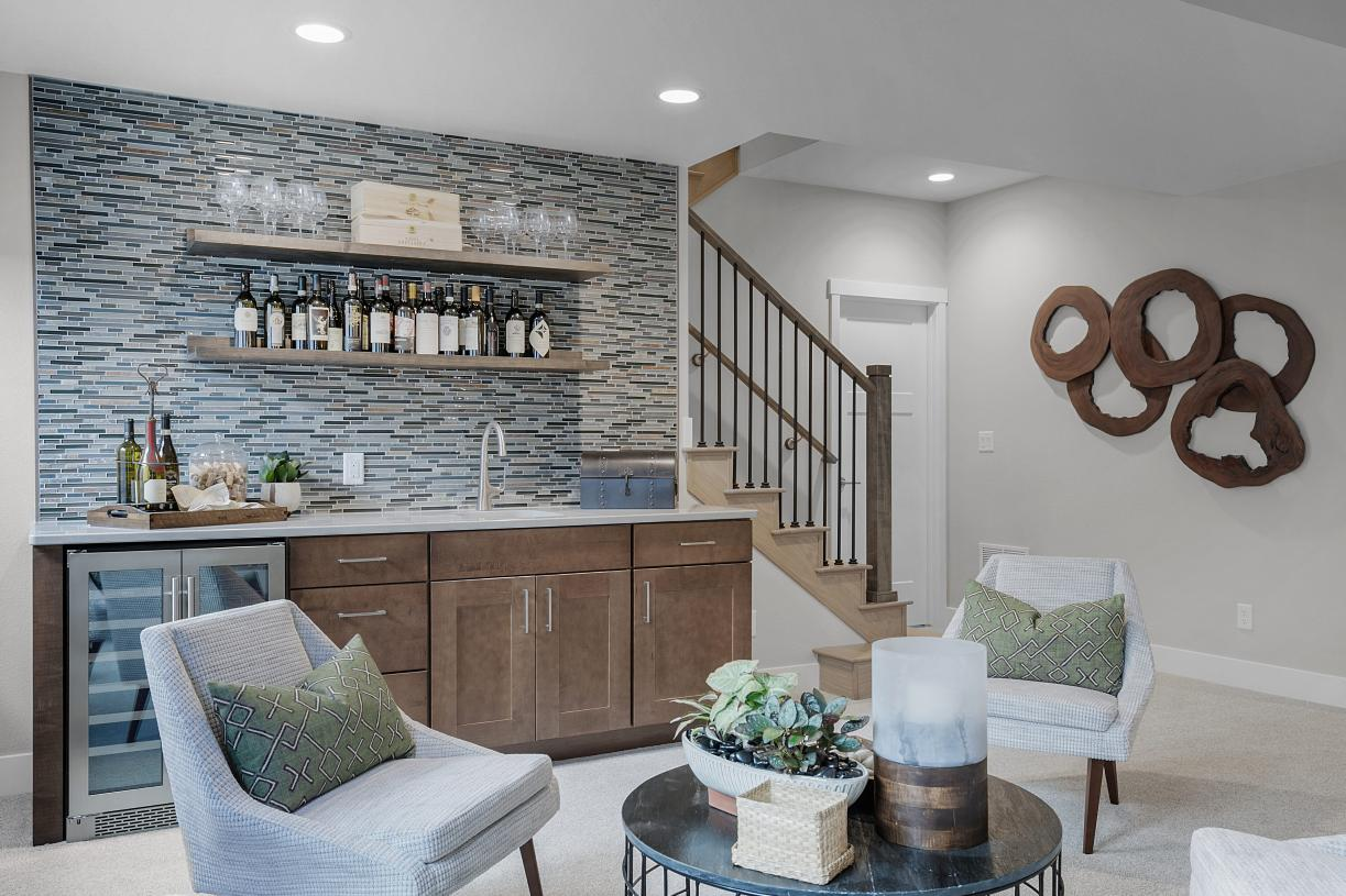 Basement wet bar option allows you to entertain with ease