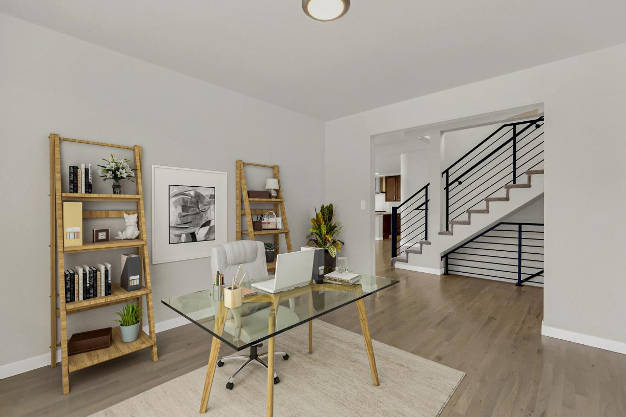 The main level flex room is the ideal space for a home office