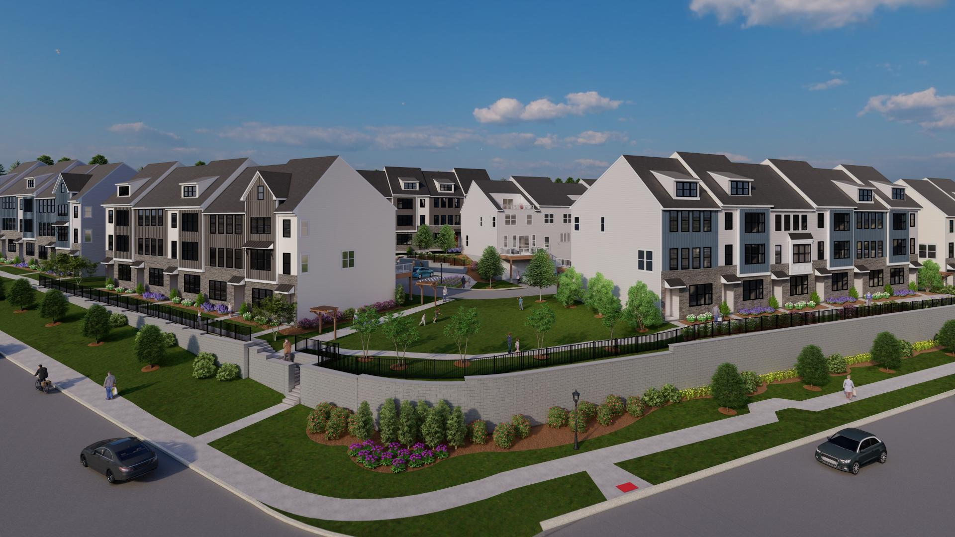 Vibrant community with walking trails, dog park, and fire pit with seating area
