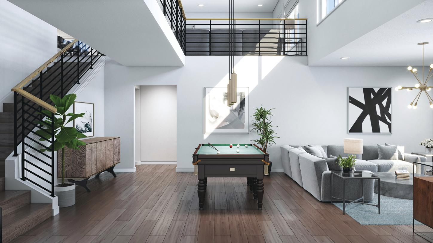 Bonus room at lower level in many locations offers flexible space
